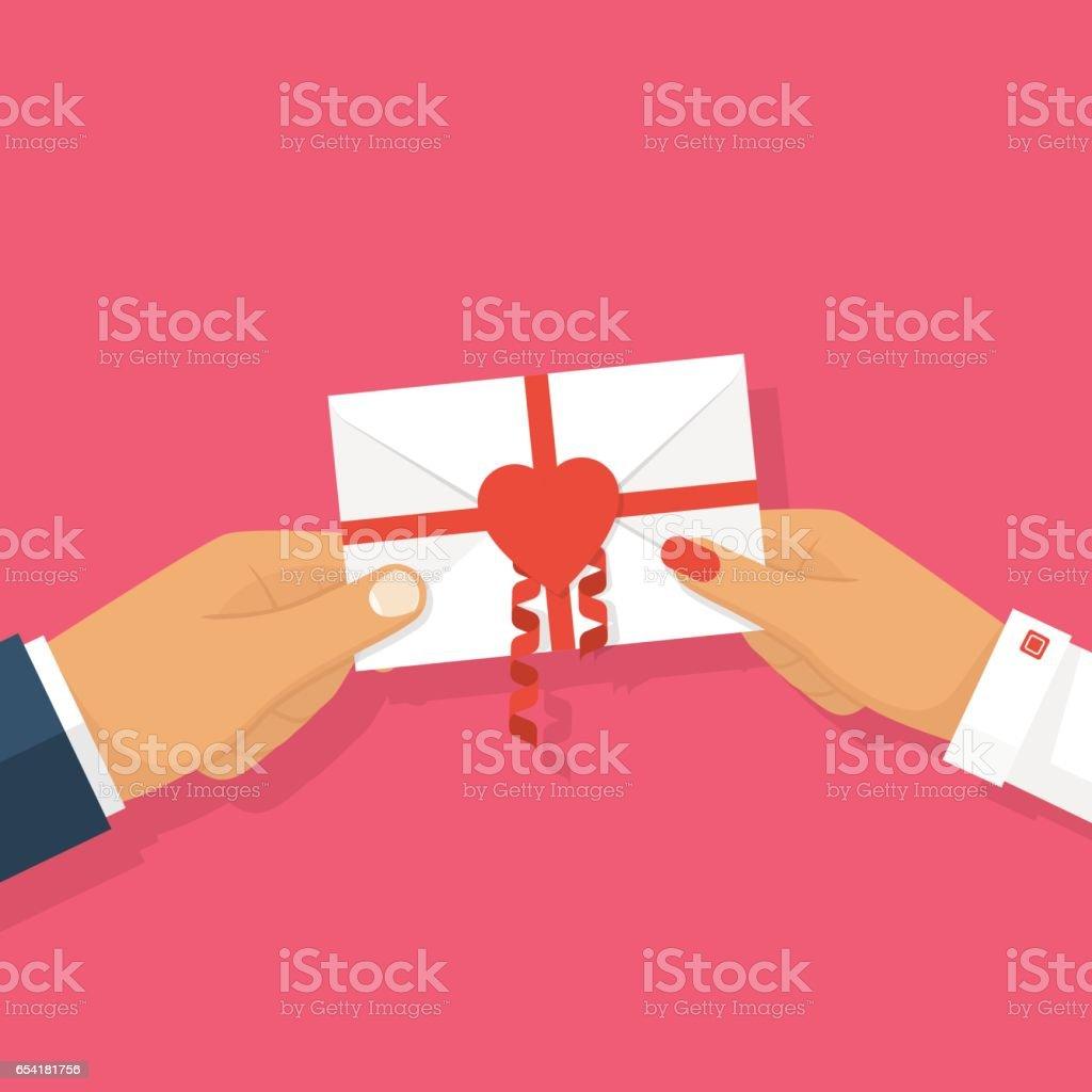 Man gives love letter in hands woman. vector art illustration