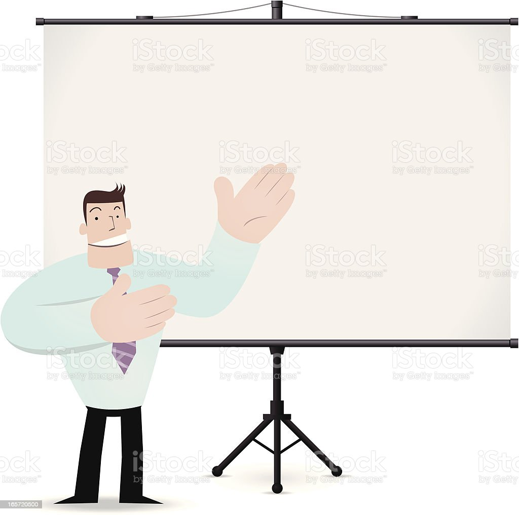 Man giving a presentation with projection screen royalty-free stock vector art