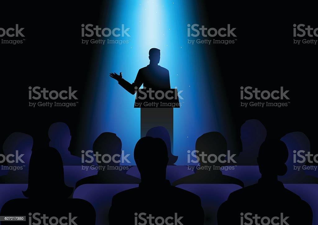 Man Giving A Speech On Stage vector art illustration