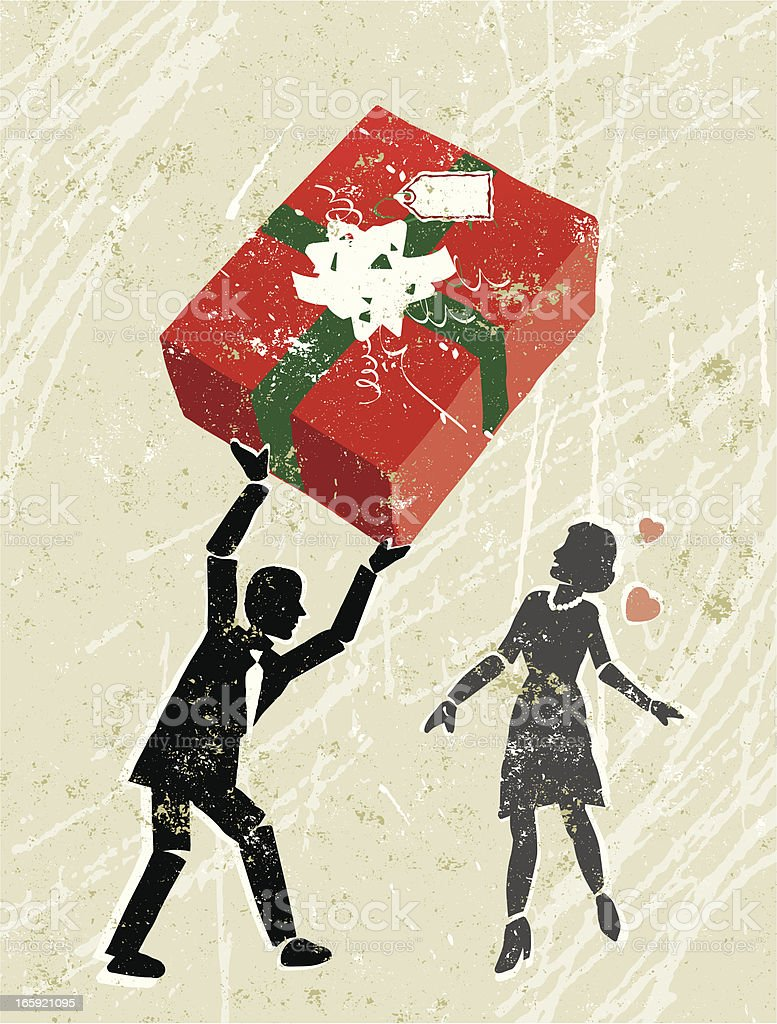Man Giving a Woman Christmas Gift royalty-free stock vector art