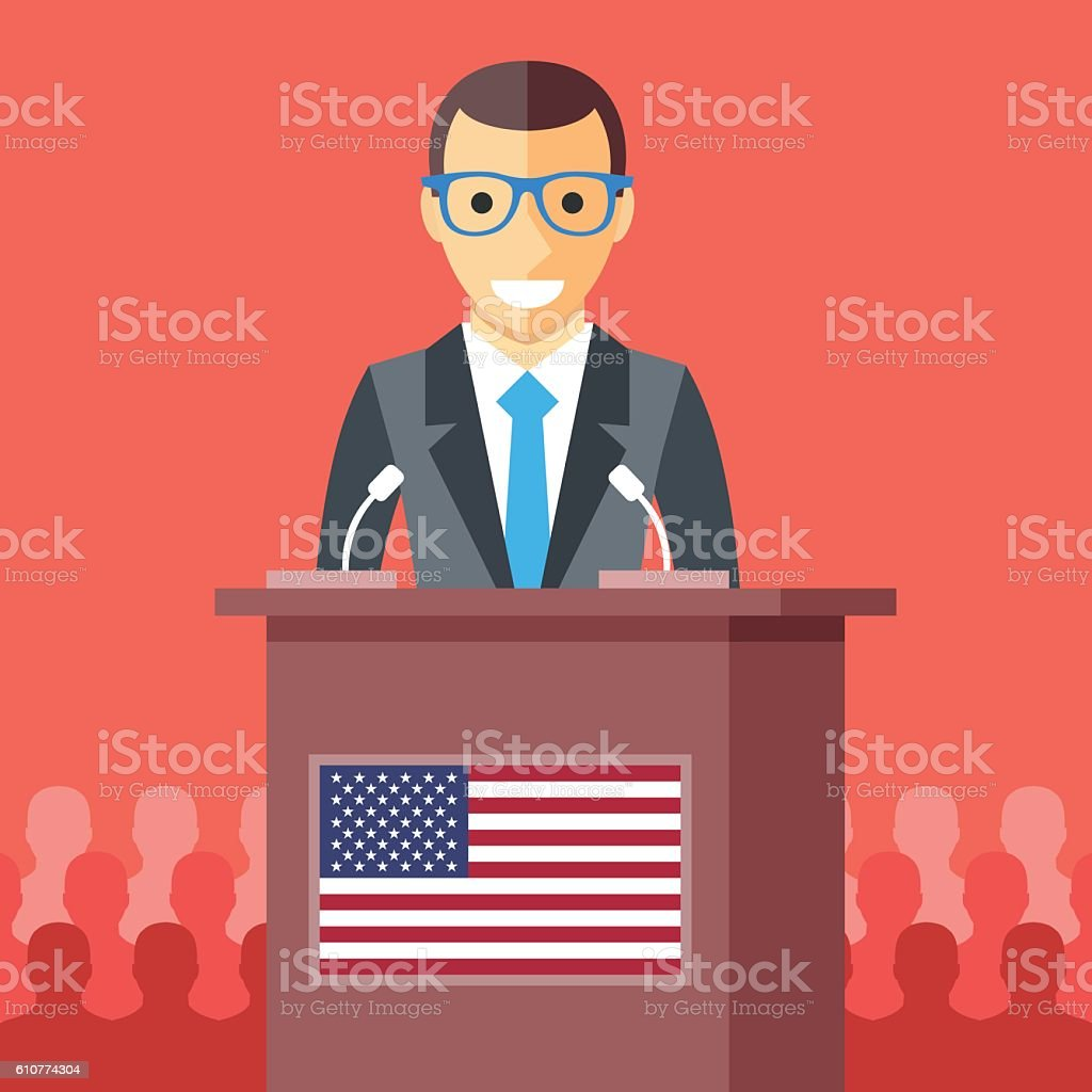 Man giving speech at rostrum with american flag. Vector illustration vector art illustration