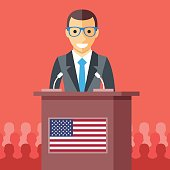 Man giving speech at rostrum with american flag. Vector illustration