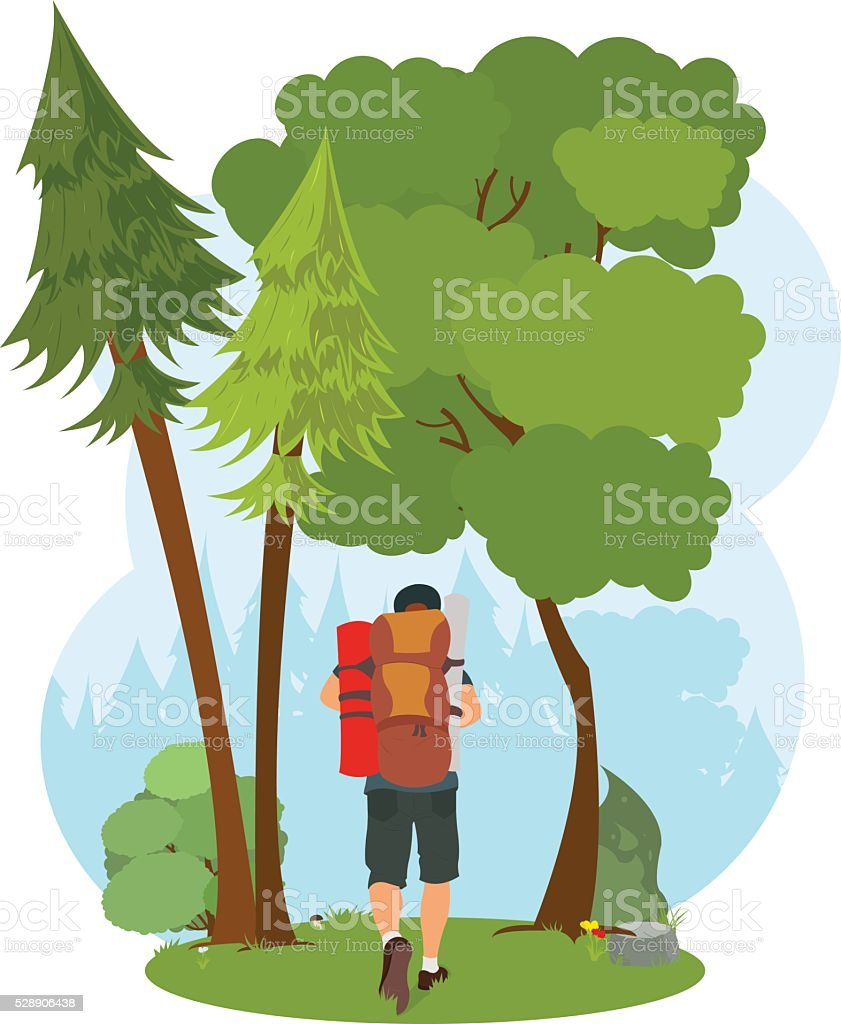 man goes hiking in the woods. isolated nature scene. vector art illustration