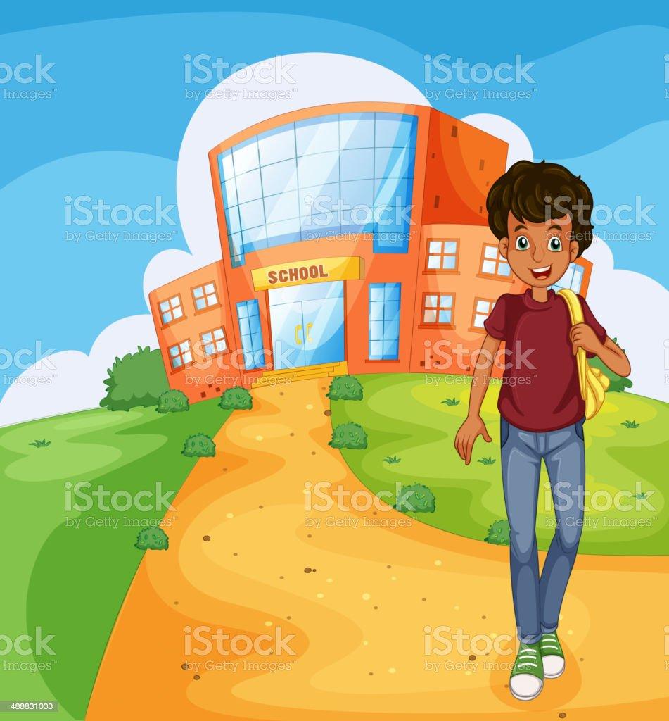 man going home from school vector art illustration
