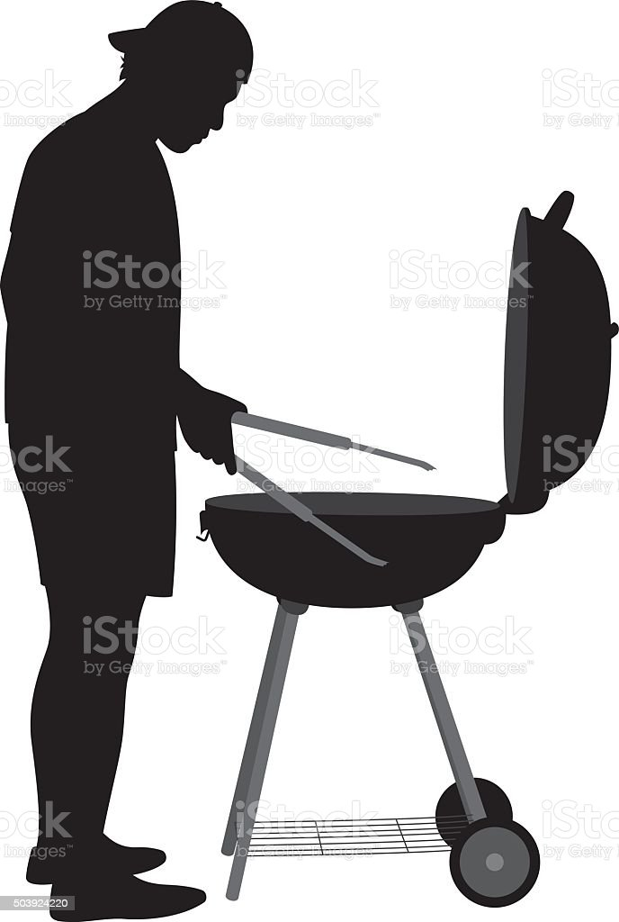 Man Grilling Silhouette vector art illustration