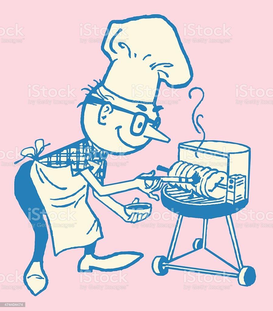 Man Grilling vector art illustration
