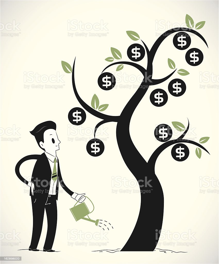 Man growing money tree part 2 royalty-free stock vector art