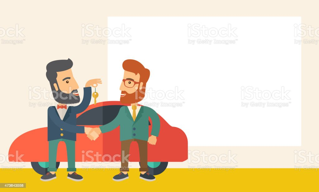Man handed a key to other man vector art illustration