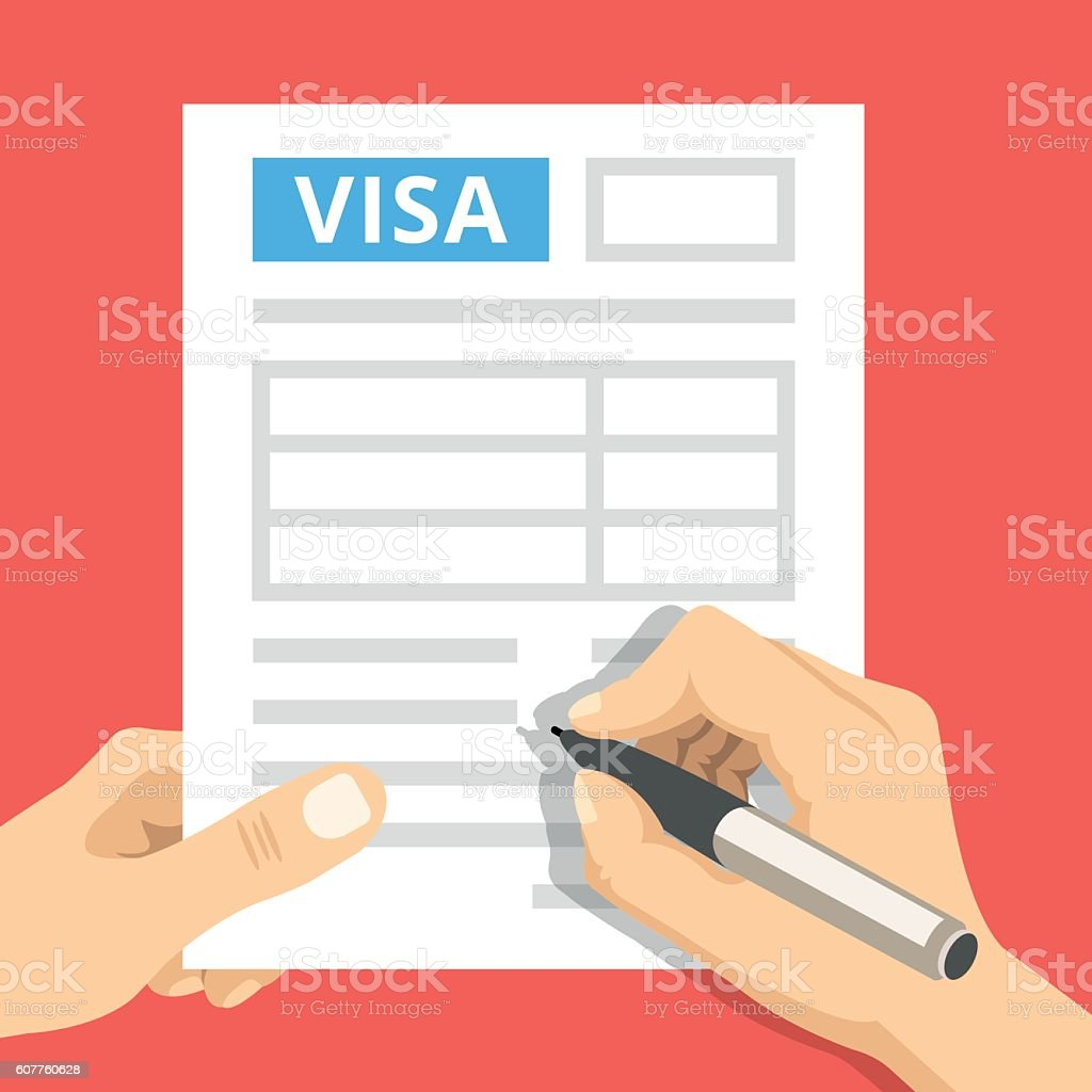 man hands filling out visa application flat design vector man hands filling out visa application flat design vector illustration royalty stock vector