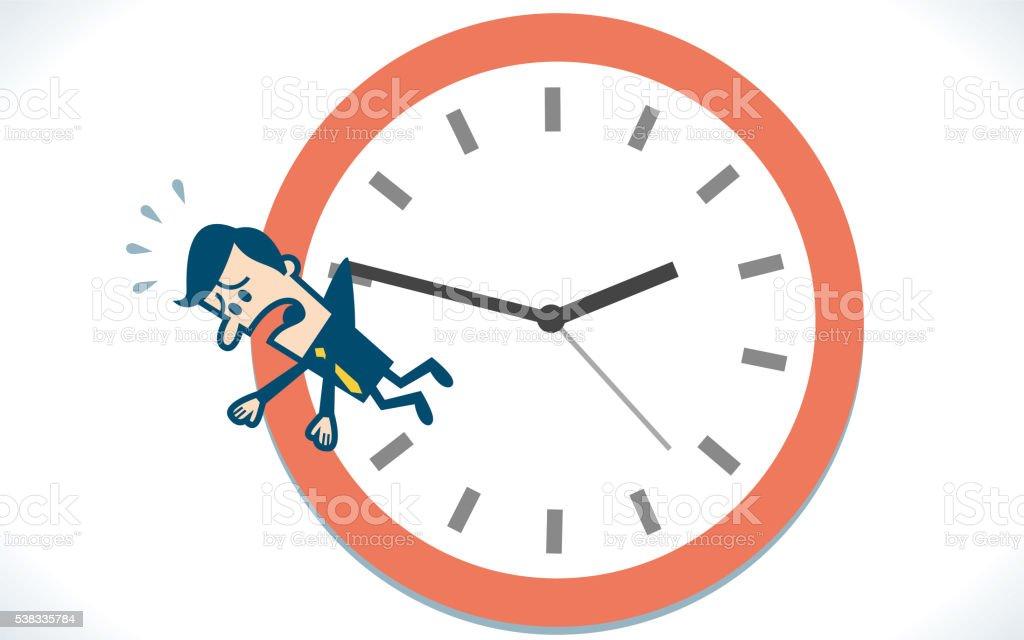 Man hang on clock vector art illustration