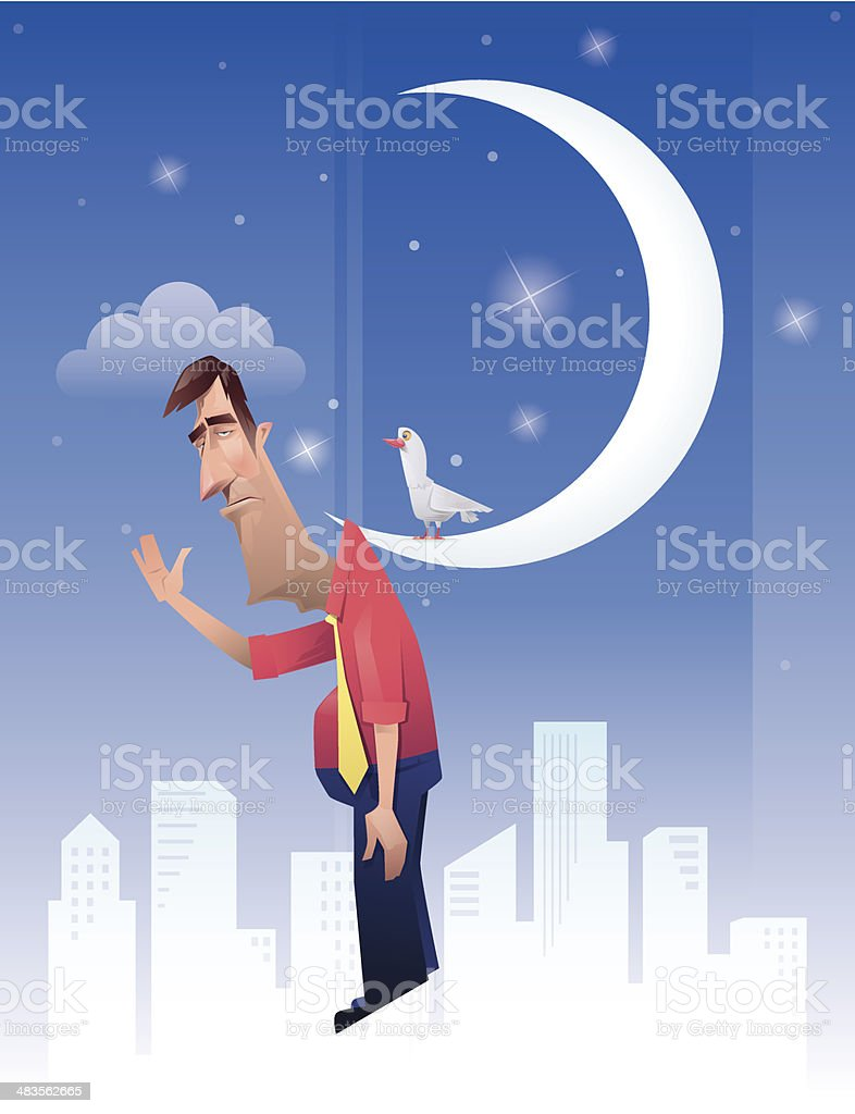 man hanged on moon royalty-free stock vector art