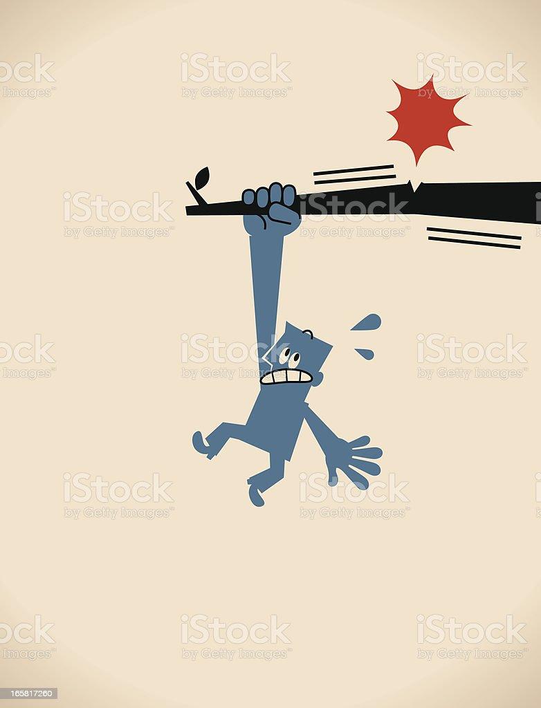 Man Hanging On Tree Branch vector art illustration