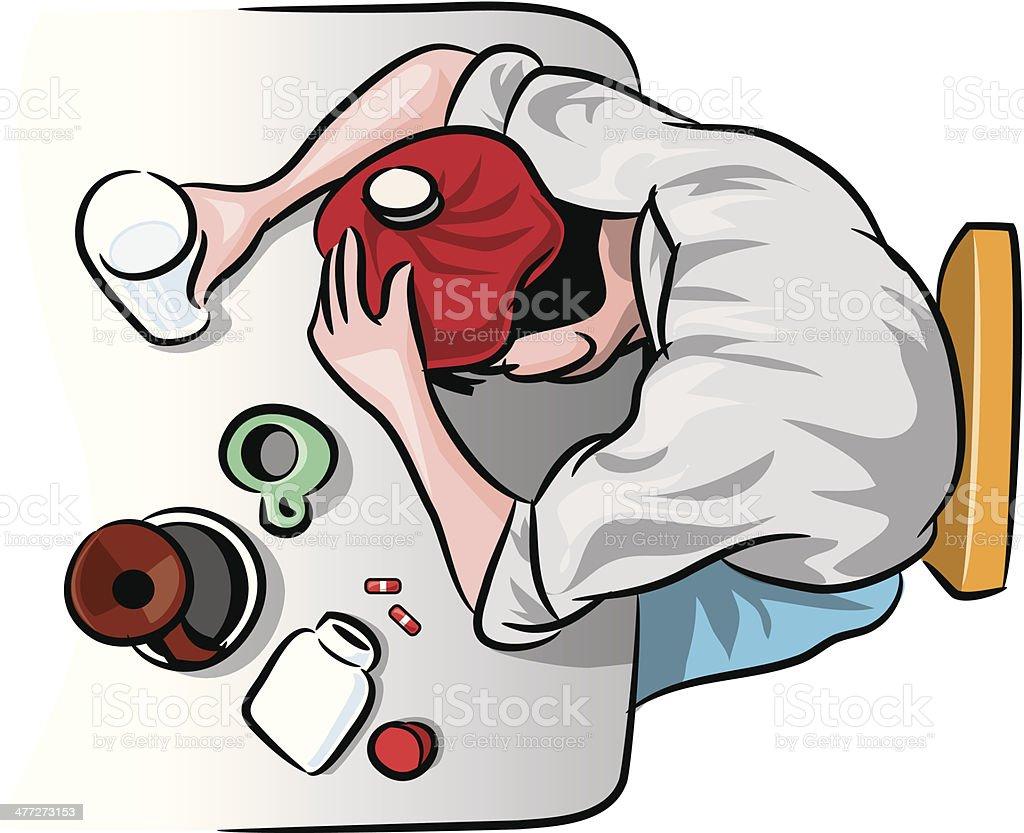 Man Hangover vector art illustration