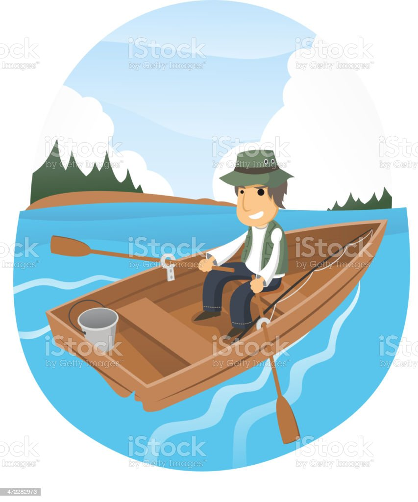 Man happy rowing fishing boat on the lake vector art illustration