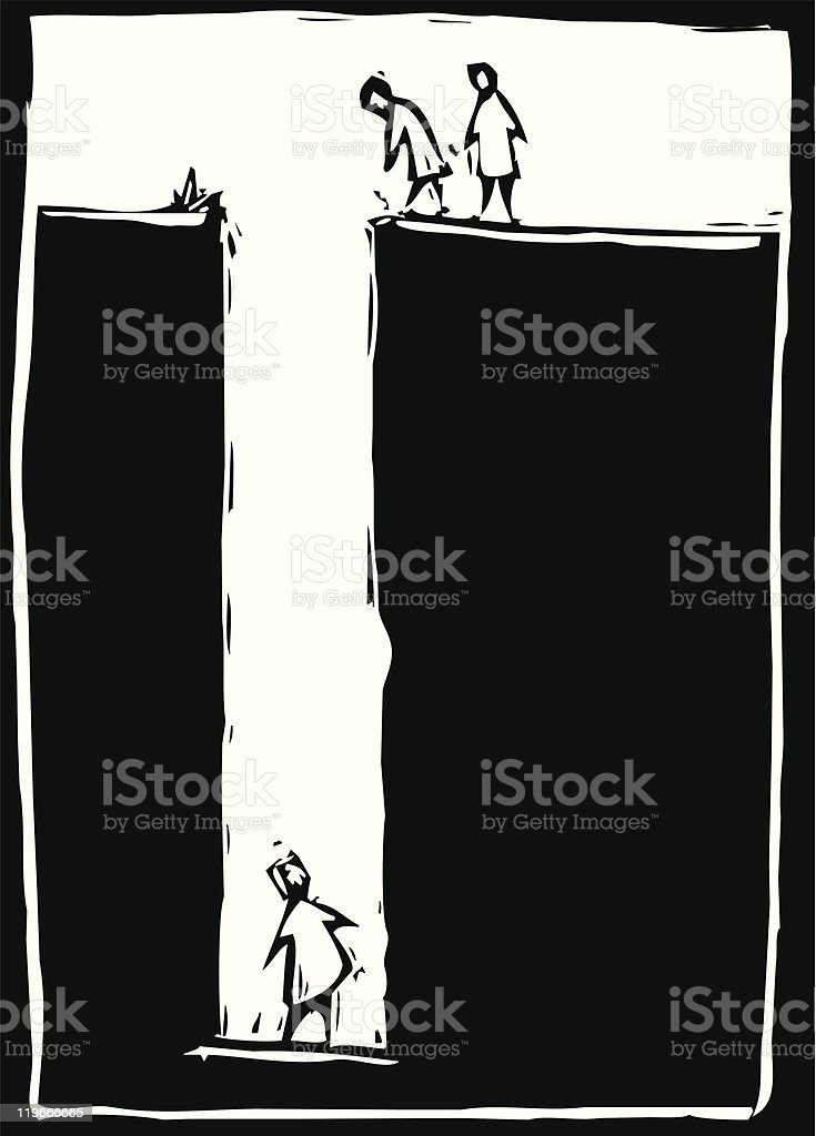 A man have fallen in the deep unable to get back up  vector art illustration