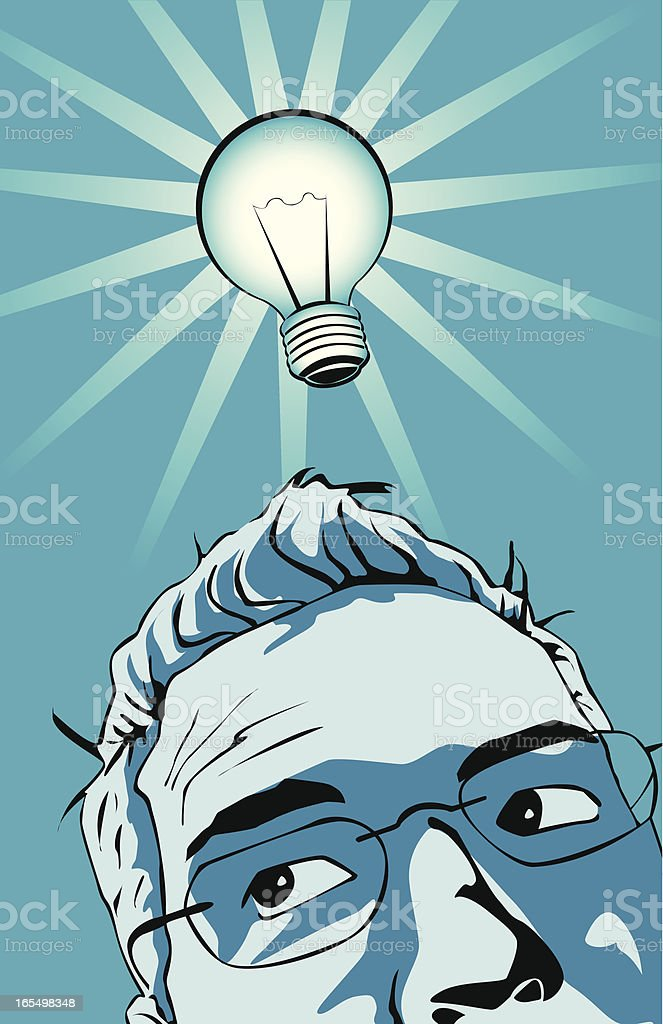 Man having a bright idea royalty-free stock vector art