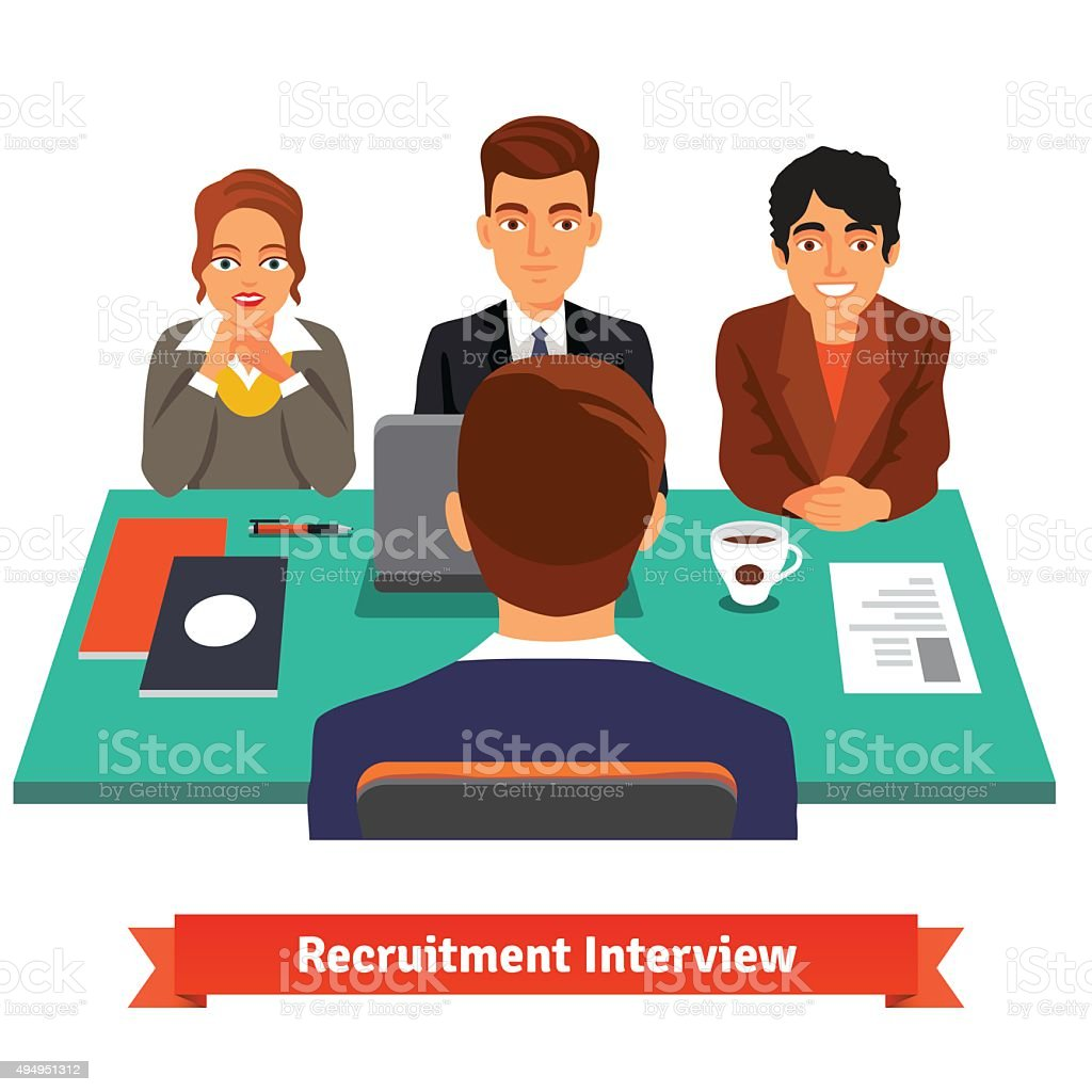 Man having a job Interview with HR specialists vector art illustration
