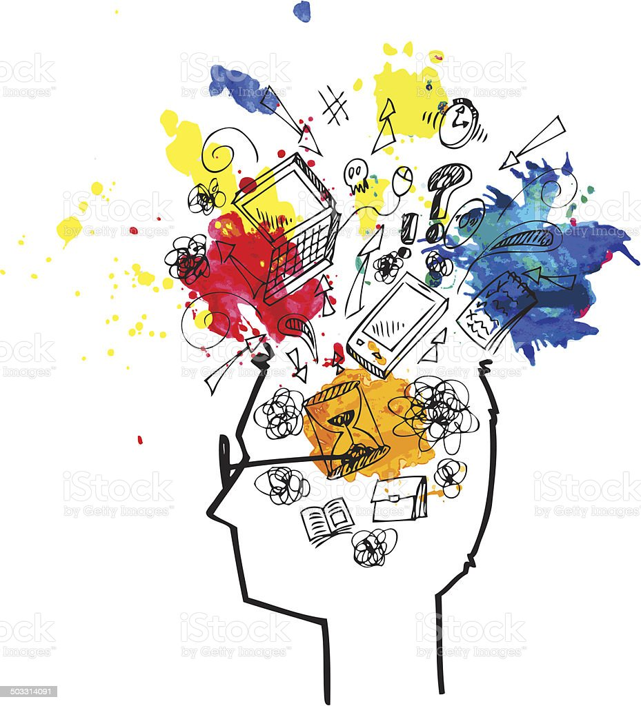 Man head full of confused thoughts vector art illustration