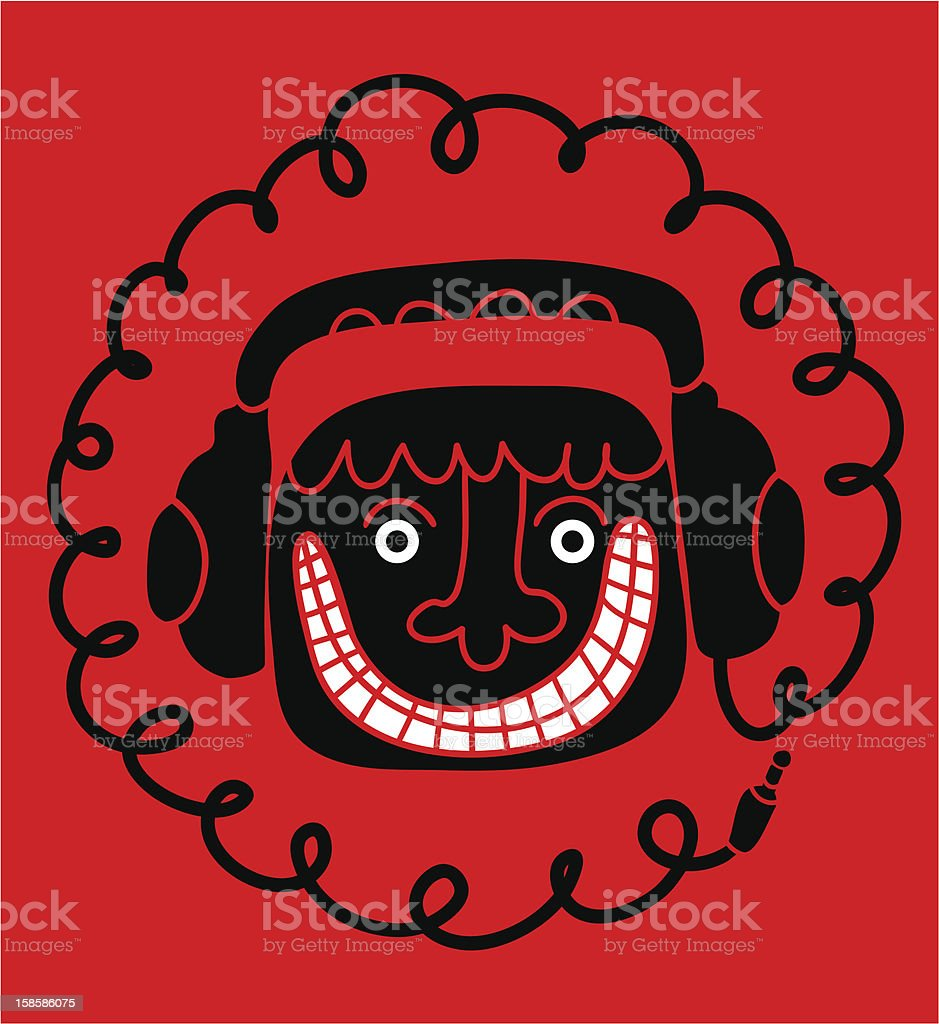 man head with headphones royalty-free stock vector art