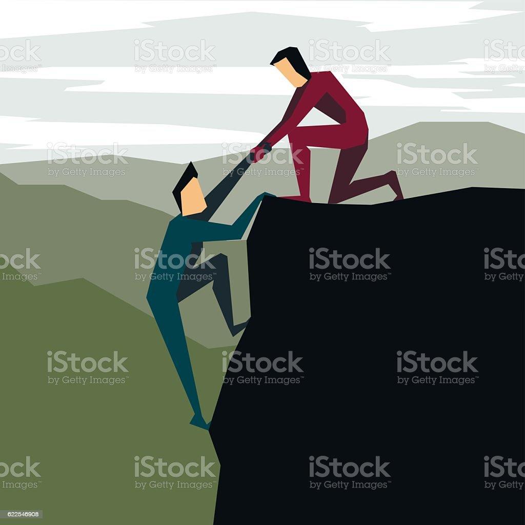 Man helping another man to climb vector art illustration