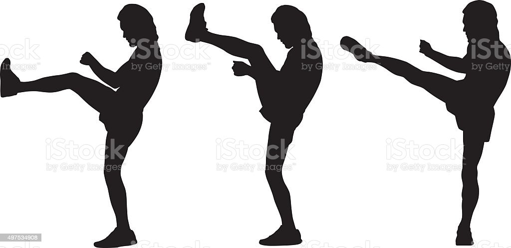 Man High Kicking vector art illustration