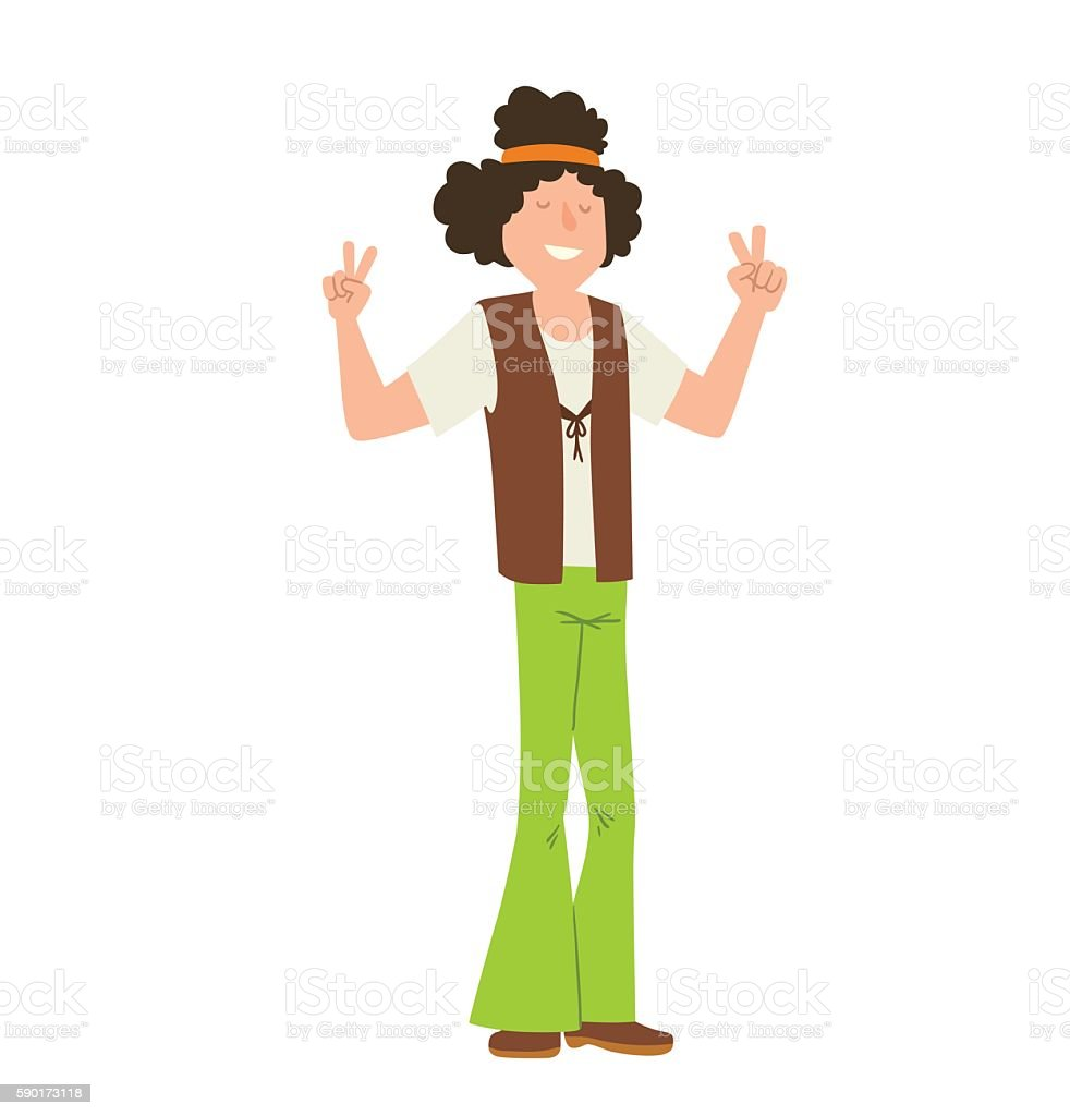 Man hippie with curly black hair vector art illustration