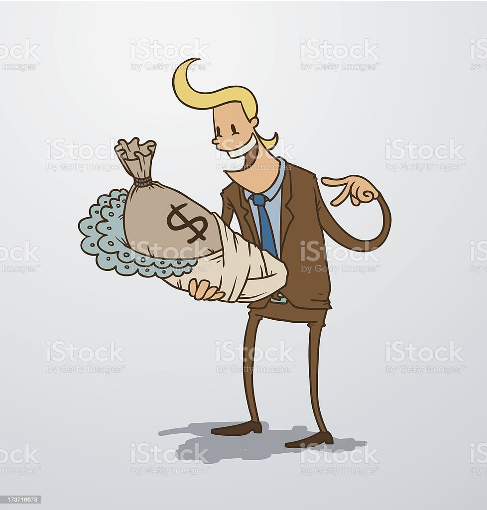 Man holding a bag of money as baby royalty-free stock vector art