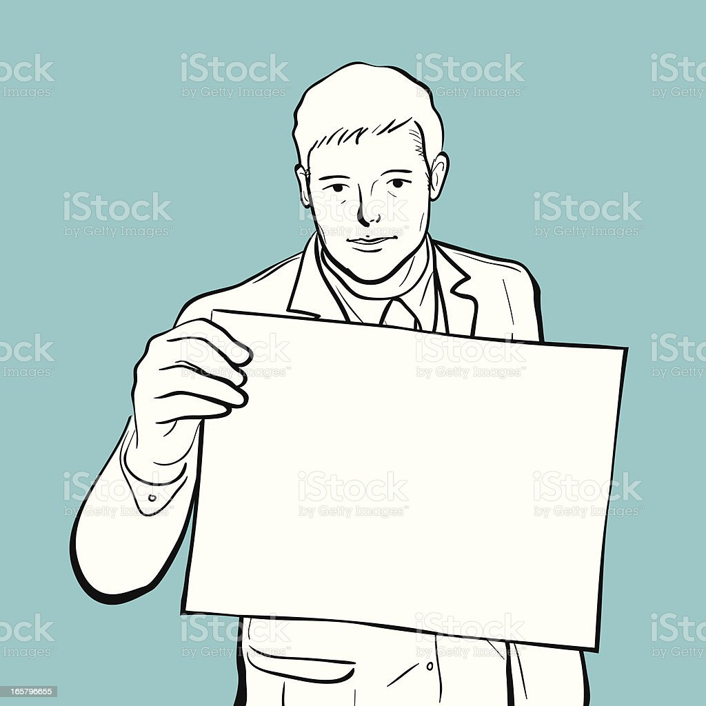 Man holding a blank billboard royalty-free stock vector art