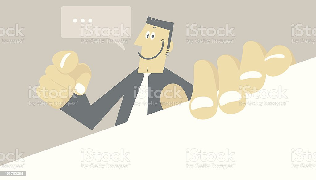 Man Holding a Blank Sign and Pointing at you royalty-free stock vector art