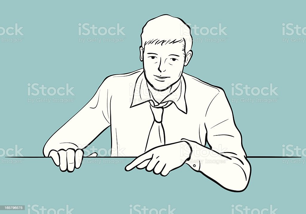 Man holding a blank sign and pointing with index finger royalty-free stock vector art