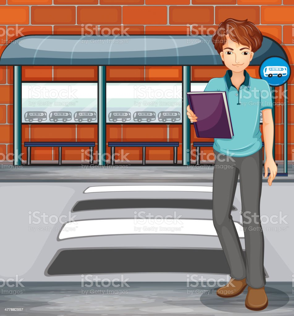 Man holding a book near the bus stop royalty-free stock vector art