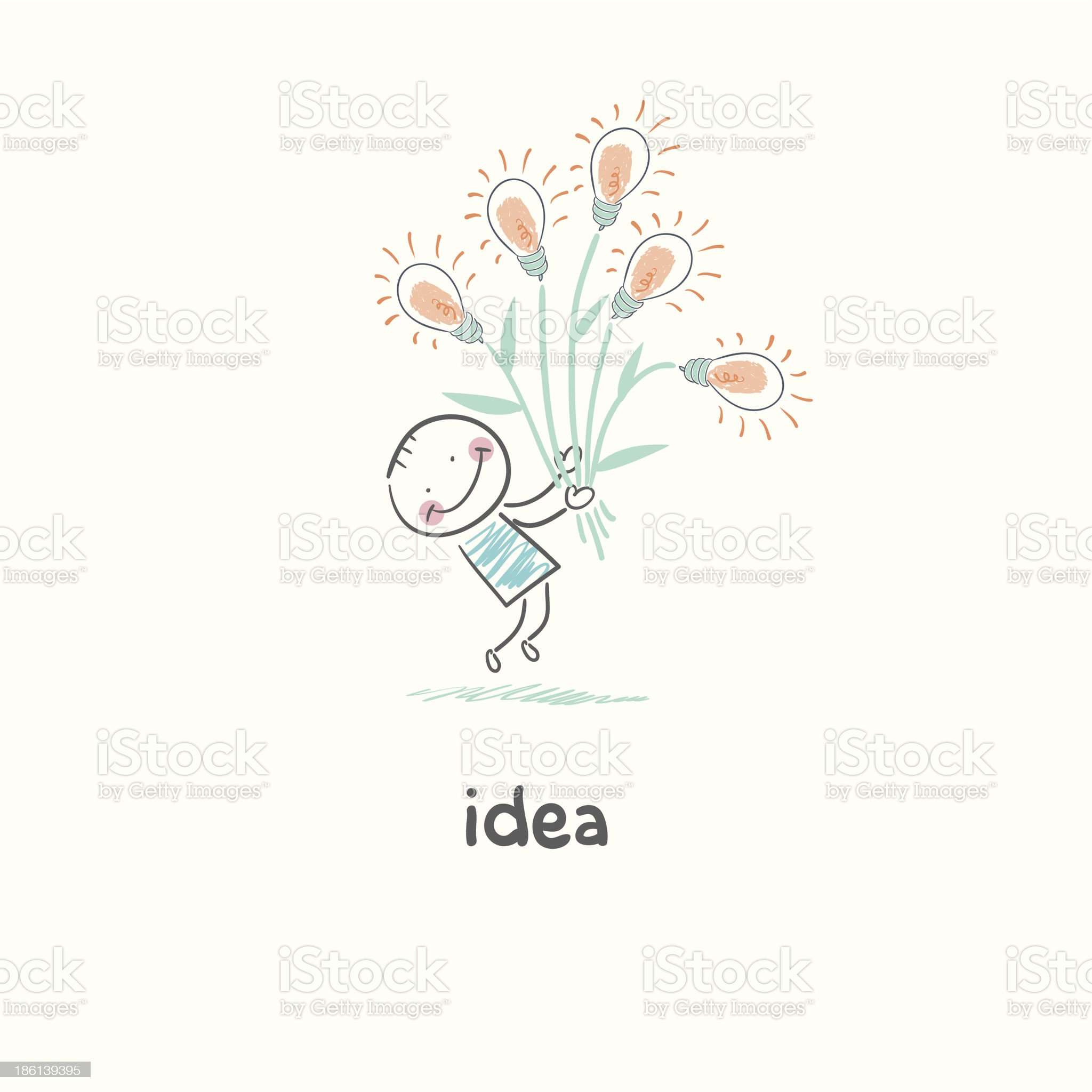 man holding a bouquet of light bulbs. Concept ideas. royalty-free stock vector art