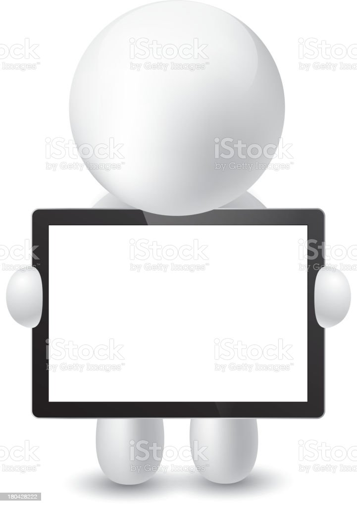 Man holding a tablet PC royalty-free stock vector art