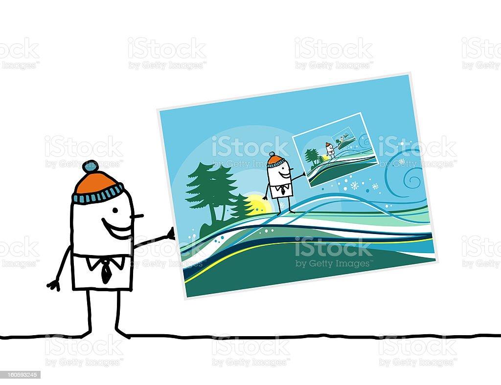 man holding a winter postcard royalty-free stock vector art
