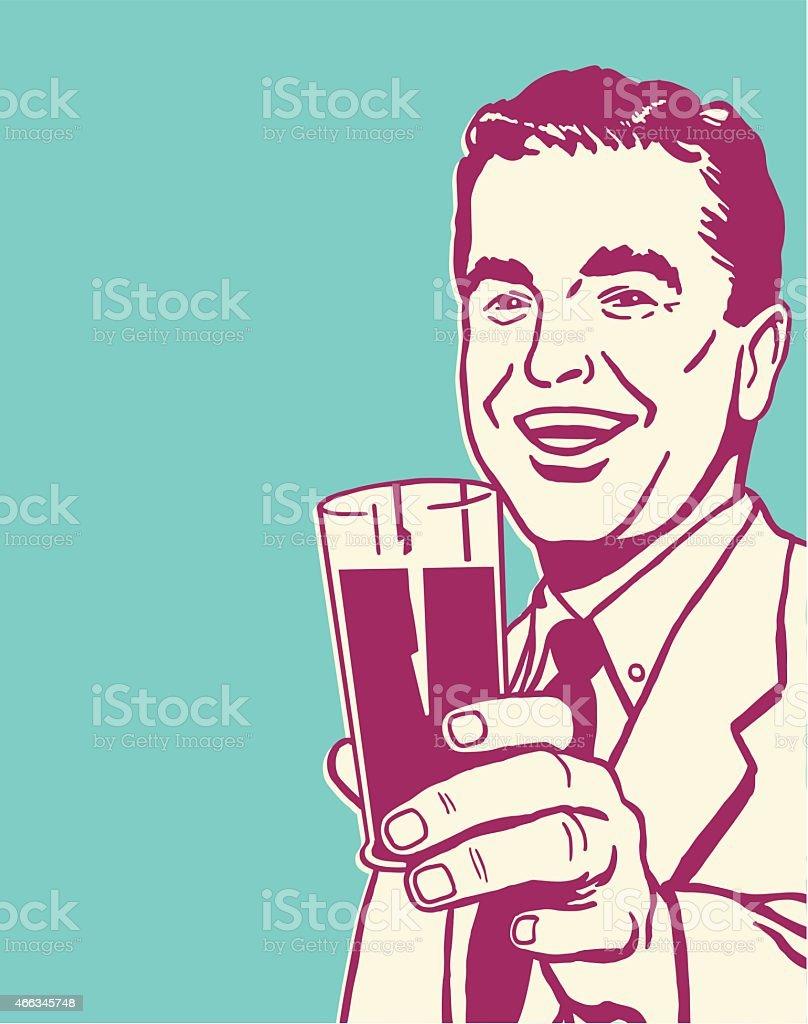 Man Holding Beverage in Glass vector art illustration