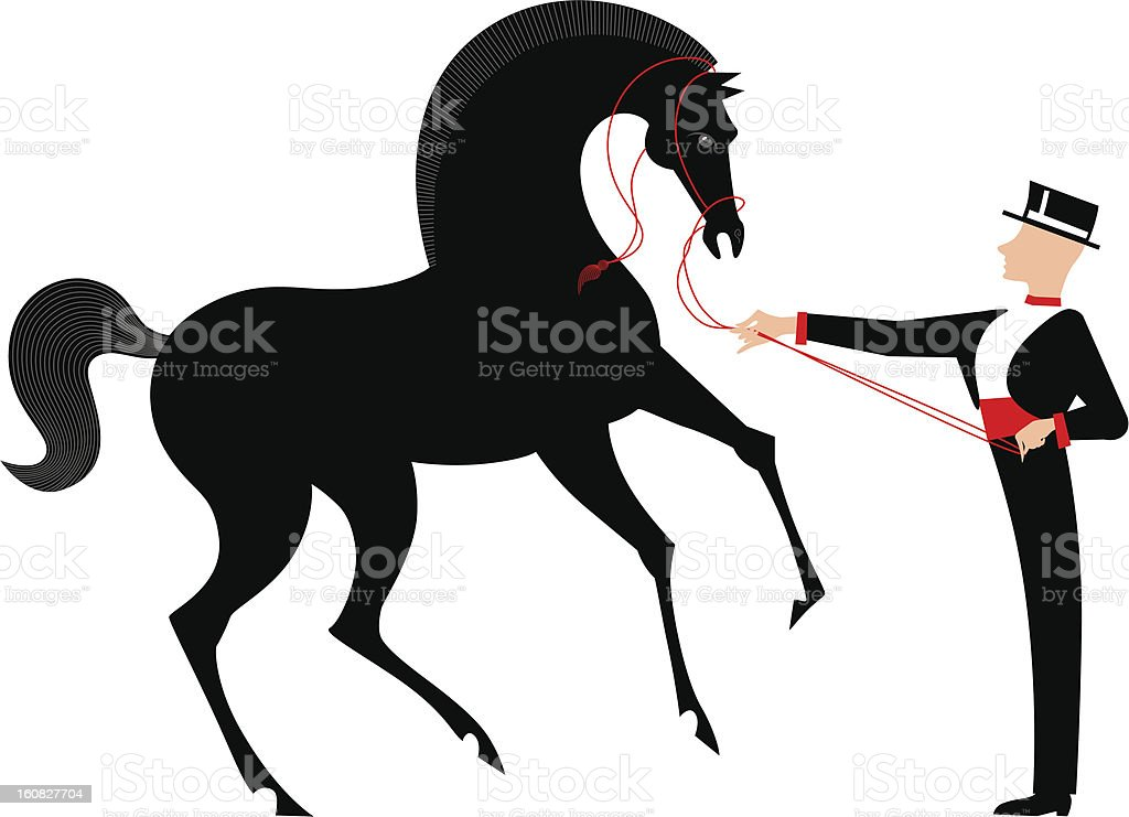 Man Holding Black Horse royalty-free stock vector art
