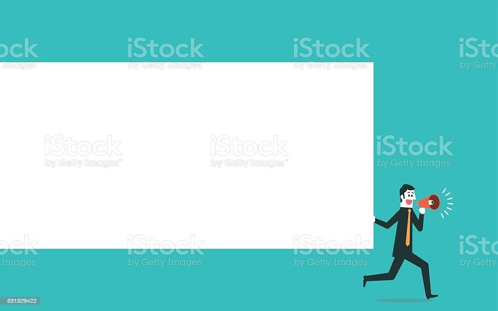 Man holding blank board vector art illustration