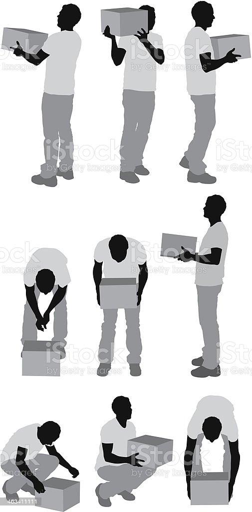 Man holding box vector art illustration