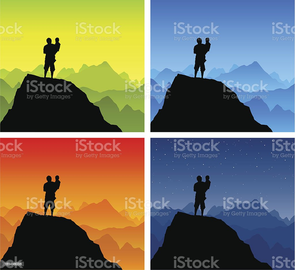 Man holding child silhouette on top of a mountain. royalty-free stock vector art