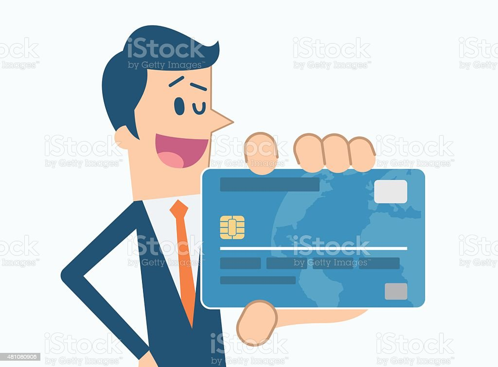 Man holding credit card vector art illustration