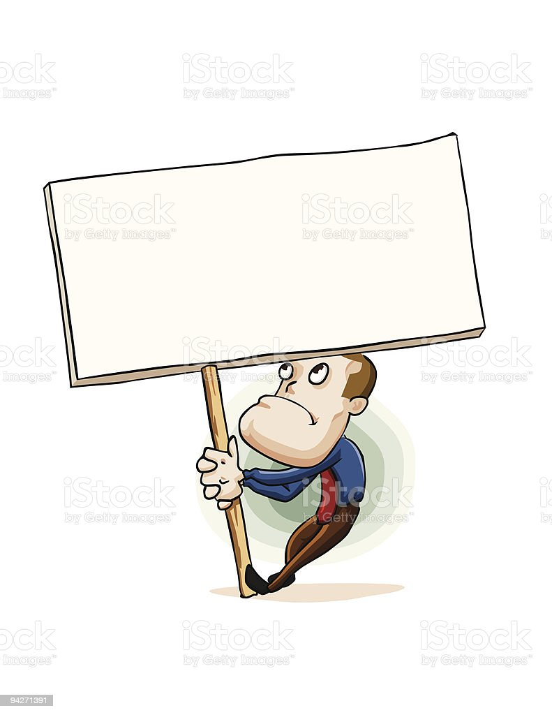 Man holding empty sign board. royalty-free stock vector art