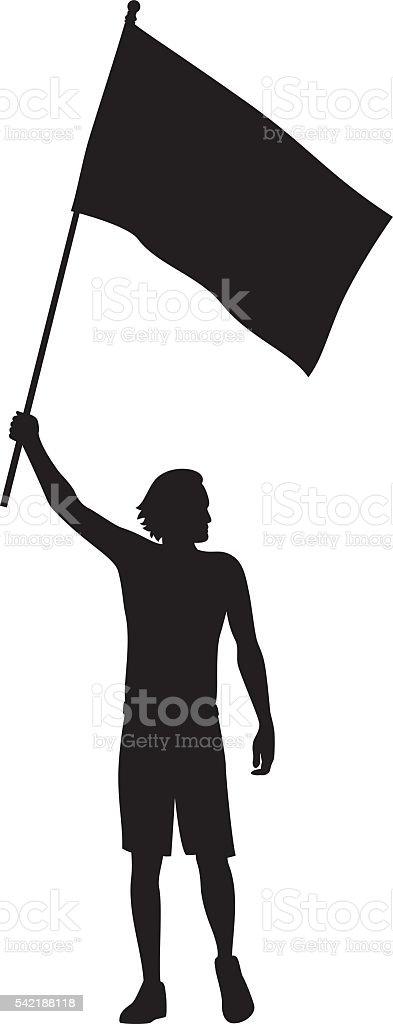 Man Holding Flag Silhouette vector art illustration