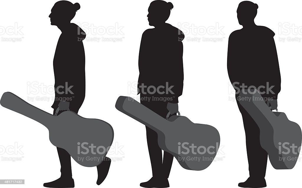 Man Holding Guitar Case Silhouettes vector art illustration
