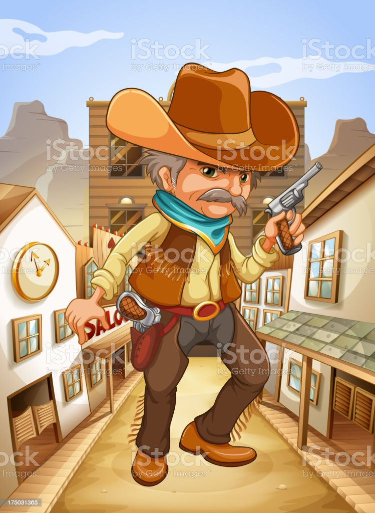 man holding  gun with a hat outside the saloon royalty-free stock vector art