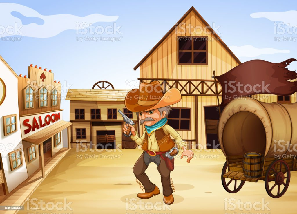 man holding gun with wooden carriage at the back vector art illustration