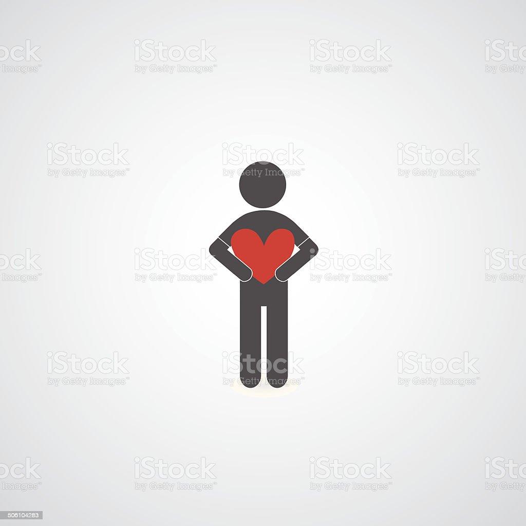 man holding heart symbol vector art illustration