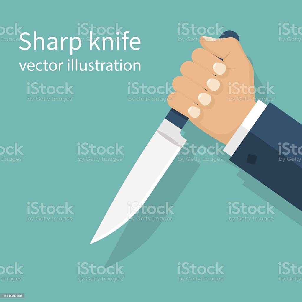 Man holding knife in hand vector art illustration