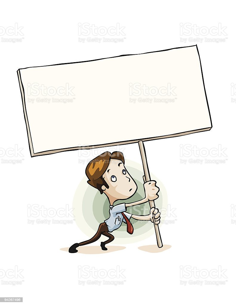 Man holding Message sign board. royalty-free stock vector art