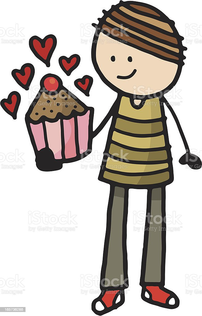 Man holding muffin with hearts royalty-free stock vector art