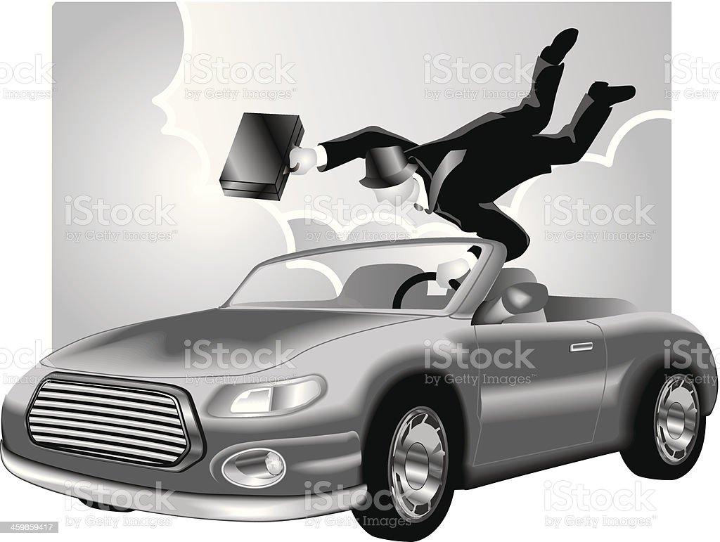 Man Holding Onto Car vector art illustration
